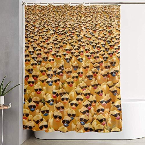 N/A puur natuurlijk schattig rubber eendje met zonnebril waterdichte polyester douchegordijn met haken 72''W X 72''HFor decoratieve badkamer gordijn