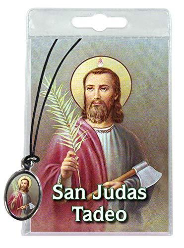 Medalla San Judas Tadeo de la Iglesia de Santa Cruz (Madrid) con cordón y oración en español