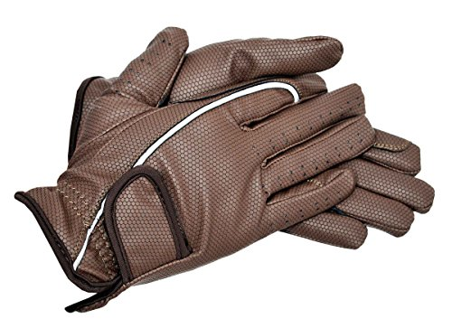 Riders Trend Embossed Synthetic PU Riding Gloves - Guantes de equitación, Color Chocolate, Talla XL
