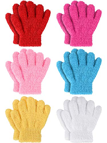 6 Pairs Kids Gloves Full Finger ...