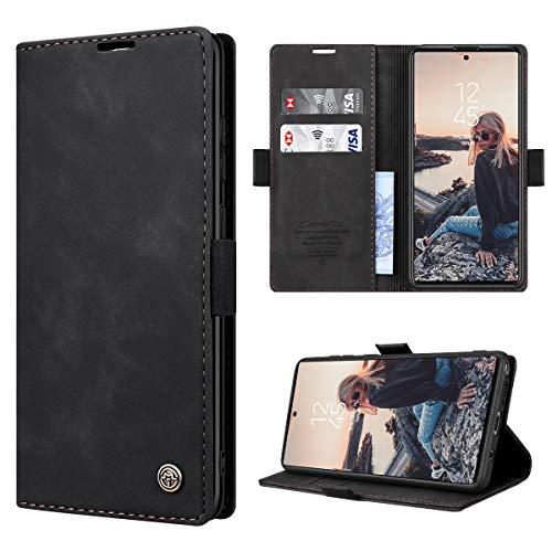 RuiPower Handyhülle für Samsung Galaxy Note 10 Lite Hülle Premium Leder PU Flip Hülle Wallet Lederhülle Klapphülle Magnetisch Silikon Bumper Schutzhülle für Samsung Note 10 Lite Tasche - Schwarz