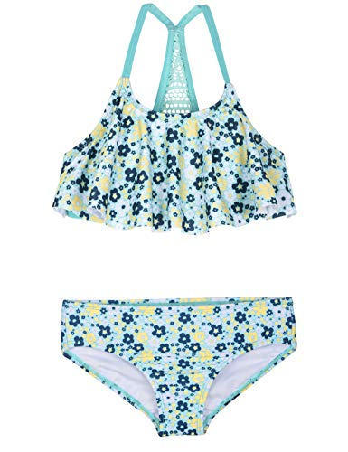 Firpearl Girl's Two Piece Swimsuit Floral Bikini Set Flounce Bathing Suit Green&Yellow Floral XL