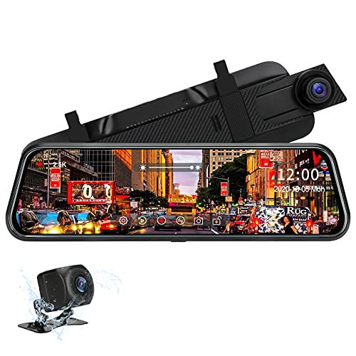 2.5K Mirror Dash Cam,10'' Full Touch Screen Night Vision Rear View Mirror Camera, Front Rear 1080P Backup Waterproof Camera for Car with Sony Sensor Parking Assistance with 10 Meters Cable