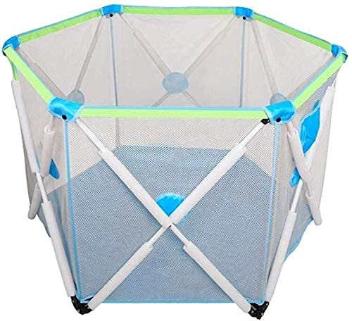 Baby Playpen Portable Baby Play Fence, Expandable Indoor Home Toddler Crawling Safety Fence (Color : Green)