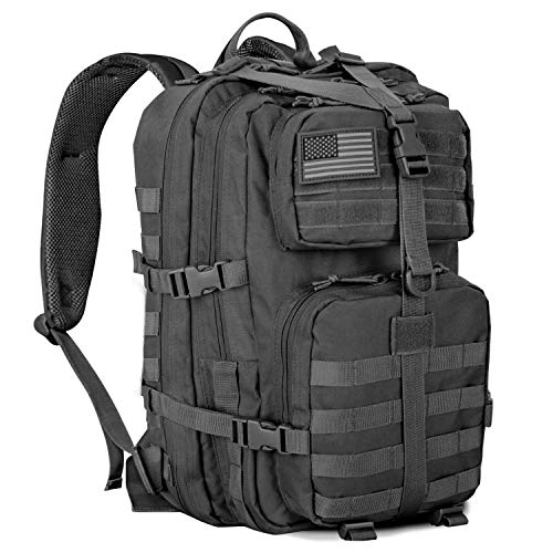 Military Tactical Backpack, Army Molle Bag Rucksack 3 Day Assault Pack 40L Large Utility Rucking Backpack for Outdoor Hiking Camping Hunting Black