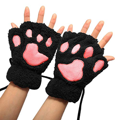 Winday Women Bear Plush Cat Paw Claw Glove Soft Winter Gloves, Black, One Size