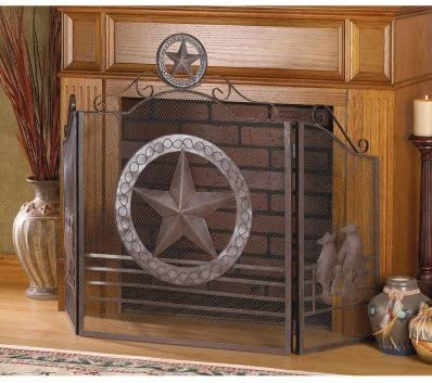 Fireplace Lone Star FIRE Place Screen Texas Rustic Price reduction Iron Ranking TOP14