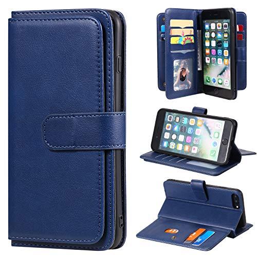 SevenPanda Brieftasche Hülle für iPhone 7 Plus, für iPhone 8 Plus 6 Plus 6S Plus Hülle, 10 Kartensteckplätze PU Leder Kreditnehmer Folio Flip Multifunktional Ständer Magnetisch Abdeckung - Dunkelblau