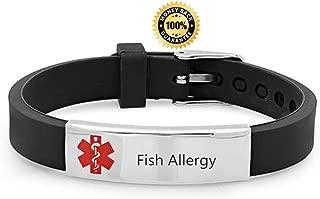 Custom Adjustable Silicon Medical Alert Allergy Awareness Bracelet for Women Men Kids,Free Engraving Emergency ID Bangle for Son,Daughter,Parents