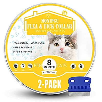 MONIPGU Flea and Tick Collar for Cats,2 Pack,Natural Flea and Tick Prevention for Cats,8 Months Protection,One Size Fits All Cats,Adjustable & Waterproof,Include Flea Comb