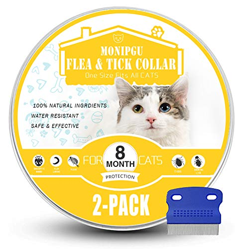 Price comparison product image MONIPGU Flea and Tick Collar for Cats, 2 Pack, Natural Flea and Tick Prevention for Cats, 8 Months Protection, One Size Fits All Cats, Adjustable & Waterproof, Include Flea Comb