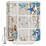 BestLives Shower Curtain, Ocean Starfish Seashell Summer Beach Heart Waterproof Polyester Fabric Curtains with Hooks for Bathroom Extra Long 72x78inch