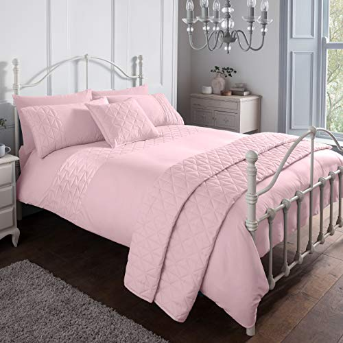 Sleepdown Pinsonic Pink Geometric Panel Luxury Soft Duvet Cover Quilt Bedding Set With Pillowcases - King (220cm x 230cm)