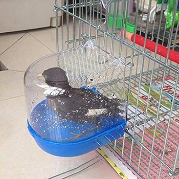 Regard Oiseaux Baignoire Douche Box Parrot Nettoyage Bain Oiseaux en Cage Baignoire Oiseaux Hanging Bain Cage Accessoires de Fournitures pour Animaux de Lavage, Blanc, 13,5 x 14 x 14 cm
