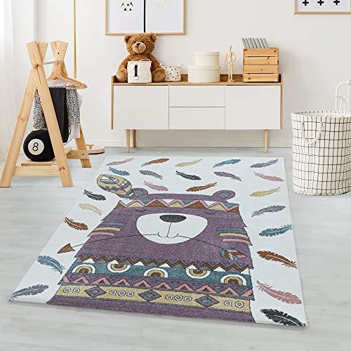 Carpetsale24 Alfombra Infantil Moderna de Pelo Corto, Alfombra de habitación Infantil, Oso Indio, Suave Violeta, Dimensiones:140 cm x 200 cm
