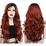 No lace Ebingoo 28 inches Red with bangs Copper Red wig with bangs wig synthetic Glueless with bab with Baby Hair Copper Red Wigs with Long Body Wavy Synthetic Wig for Women for dairly wear for cosplay