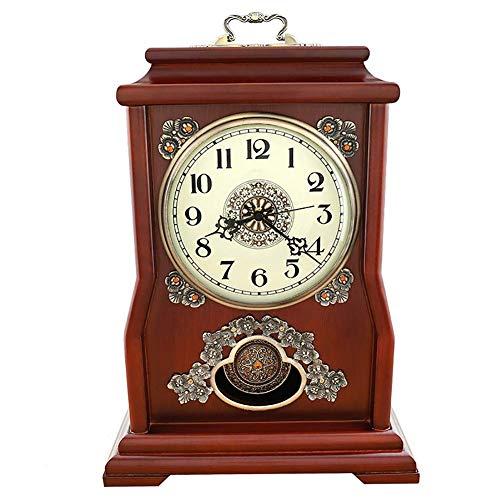 SHBV Reloj de Manto Reloj de péndulo Reloj con Soporte Reloj de Chimenea Reloj de Escritorio Retro nórdico Reloj Antiguo Regalo con Pilas (Color: Marrón)