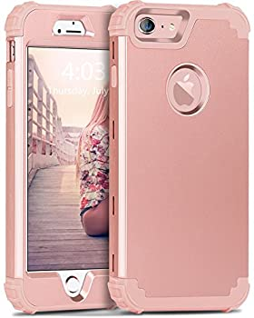 BENTOBEN iPhone 6S Case iPhone 6 Case 3 in 1 Hybrid Hard PC & Soft Silicone Heavy Duty Rugged Bumper Shockproof Anti Slip Full-Body Protective Case for iPhone 6/6S  4.7 inch  Rose Gold