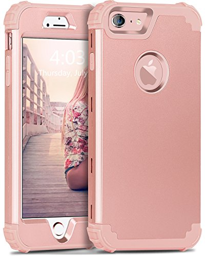 BENTOBEN iPhone 6S Case, iPhone 6 Case, 3 in 1 Hybrid Hard PC & Soft Silicone Heavy Duty Rugged Bumper Shockproof Anti Slip Full-Body Protective Case for iPhone 6/6S (4.7 inch), Rose Gold
