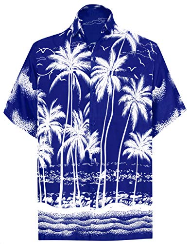 LA LEELA Men's Beach Hawaiian Shirt Button Down Aloha Party Shirt 3XL Blue_W457