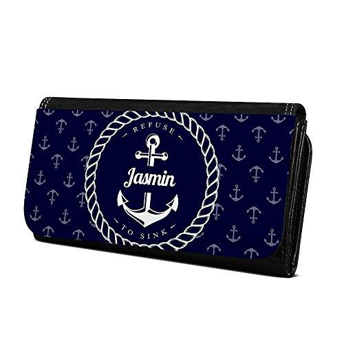 Geldbörse mit Namen Jasmin - Design Anker - Brieftasche, Geldbeutel, Portemonnaie, personalisiert für Damen und Herren