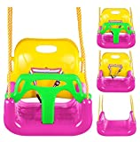 Flyerstoy 3-in-1 Toddler Swing Seat Infants to Teens Hanging Swing Set for Playground Swing Set (Pink)