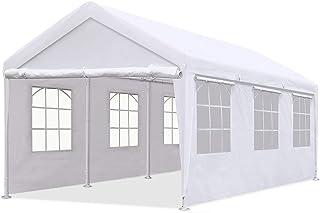Quictent 10`x20` Heavy Duty Carport Gazebo Canopy Garage Car Shelter White (with Windows)