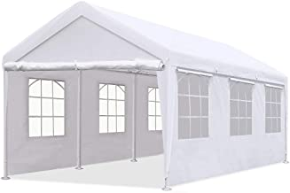 Quictent 10'x20' Heavy Duty Carport Gazebo Canopy Garage Car Shelter White (with Windows)