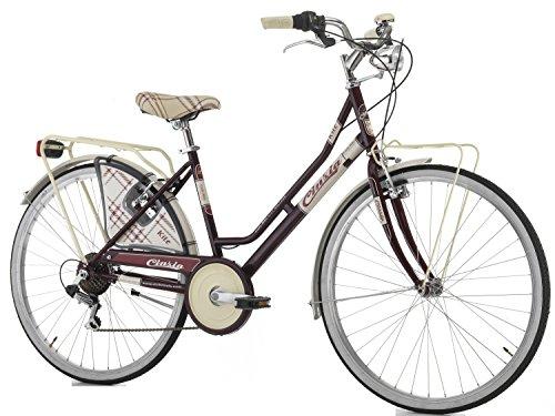 Cicli Cinzia Bicicletta 26' Citybike Kilt Donna 6/V Revo Shift V-Brake Alluminio, Amaranto