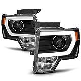 ACANII - For NEW Black 2009-2014 Ford F150 Raptor LED Tube DRL Projector Headlights Headlamps Driver + Passenger Side