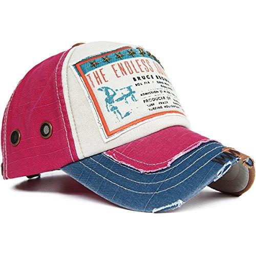 REDSHARKS Vintage Distressed Baseball Cap Trucker Hat Embroidered Patch Ventilation Eyelets