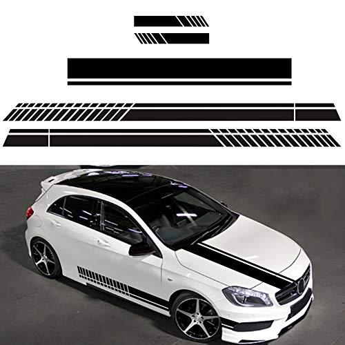 BONNIO Auto Aufkleber Vinyl Racing Streifen Aufkleber für Auto Motorhaube Karosserie Stoßstange Dach Kofferraum, Auto Dekoration Aufkleber (5 Stück/Set, Schwarz)