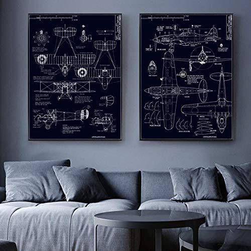 Cuadro Estructural de Aviones Imagen Decoración para el hogar Pintura de Lienzo nórdico Arte de Pared Plano Decoración Retro...