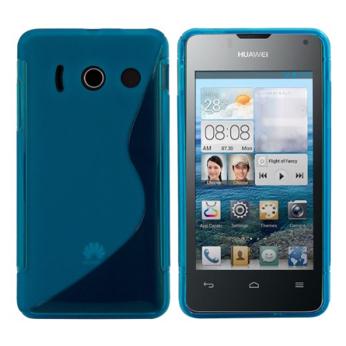 kwmobile Huawei Ascend Y300 Hülle - Handyhülle für Huawei Ascend Y300 - Handy Case in S-Line Design Blau Transparent