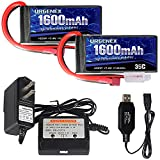 URGENEX 2S Lipo Battery 7.4v 1600mah 35C Lipo with Deans T Plug RC Lipo Batteries and Battery Charger Campatibal with WLtoys Rc Cars, Truck, Truggy, Helicopter, Drone, Redcat Racing (2Pack)