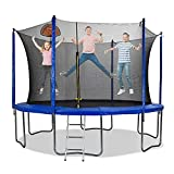 12 FT Round Trampoline Large Jump Recreational Trampolines with Safety Enclosure Net & Basketball Hoop Combo Bounce Jump for Kids Children Toddler Outdoor with Spring Pad Waterproof Jump Mat