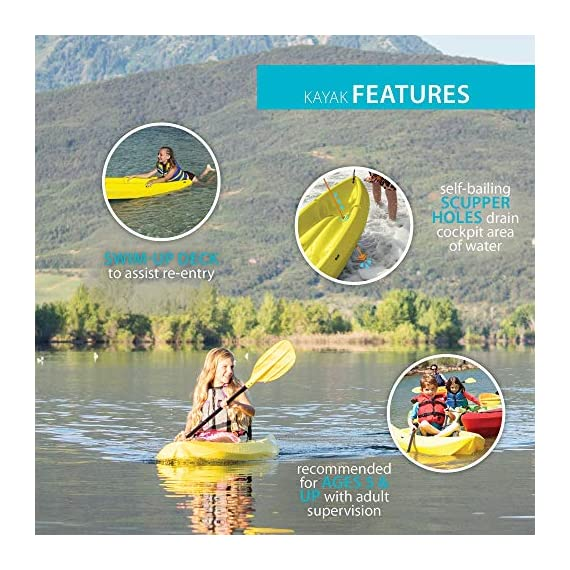 Lifetime 6 Foot Yellow Youth Kayak 5 Ergonomic cockpit design enhances balance and motor skills Molded finger handles on each side of the kayak Reverse chine for enhanced stability with swim-up step