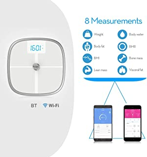 Koogeek Bluetooth WiFi Body Fat Scale with IOS and Android App Wireless Bathroom Scale for Body weight, Body Fat, Water, Muscle Mass, BMI, BMR, Bone Mass and Visceral Fat, White