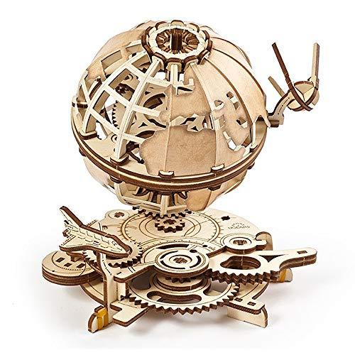 UGEARS Puzzle 3D en Bois - Puzzle Adulte - Modèle de Globe terrestre 3D Rotatif - Kit de Construction mécanique en Bois - Globe interactif avec Navette et Spoutnik - Casse Tete