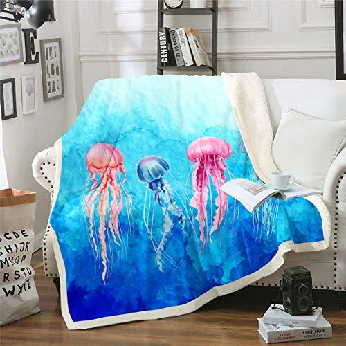 Manta de sherpa de medusas para niños y niñas, mar subacuático, manta de felpa azul y rojo, decoración para sofá cama, bebé 76 x 100 cm