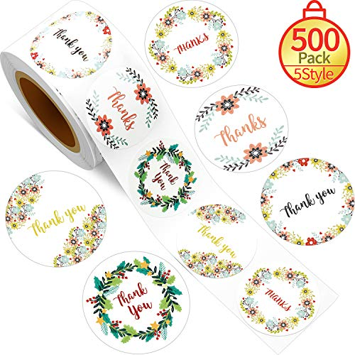 500 Pegatinas Thank You Etiquetas Adhesivas Florales