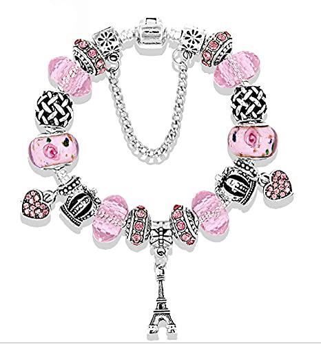 CHXISHOP Pulsera con colgante de torre vintage para niñas, regalo de gran agujero, pulsera con cuentas de cristal para mujeres, niñas, mejores amigos (18 cm-21 cm), rosa - 20 cm