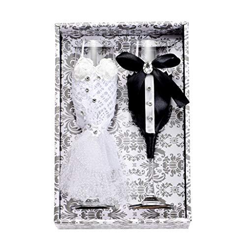 Joocyee - Juego de 2 Piezas para Boda, Creativo, Negro, Blanco, Vestido, Cristal, Boda, champán, Copa de champán con Diamante, Moda, Noble, Vestido Blanco y Negro, como se Muestra