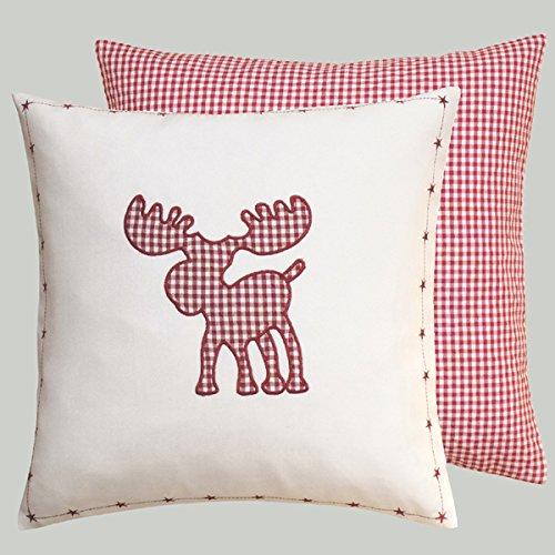 Navidad diseño de cuadros rojo blanco Biberon con alce bordado de aplicación y estrellas cenefa como Cojín Mantel Camino de mesa y visillo typ292, poliéster, blanco y rojo, cojín 40 x 40 cm