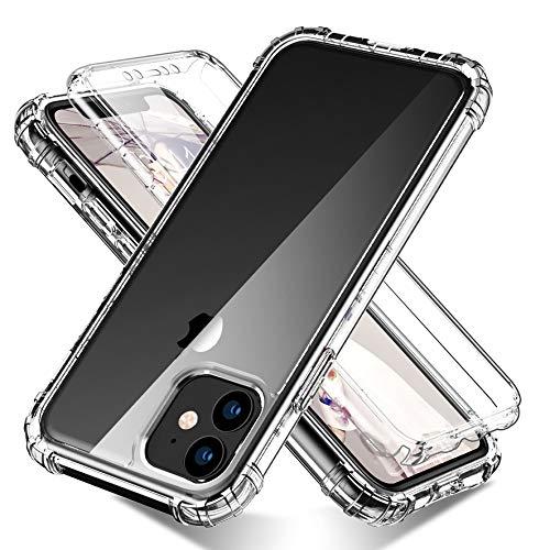 CoverPhone, Funda Transparente iPhone Series 11 Case Uso Rudo 2 en 1, Mica Integrada, 360 Grados Carcasa Completa, Protector de Pantalla Touch (iPhone 12/12Pro (6.1'))