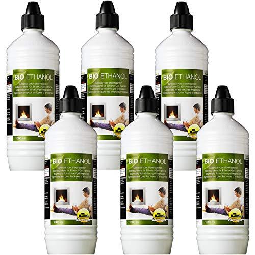 Farmlight 3671 Bioetanolo [Ultra-INODORE] 6 Bottiglie da 1 litro, combustibile Liquido 100% Origine Vegetale per bio camini e stufe, con Pratico beccuccio dosatore, Light White