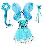 Tante Tina Disfraz de hada de mariposa para niña, 4 piezas, con vestido de tul, alas, varita mágica y diadema, adecuado para niños de 2 a 8 años, color azul