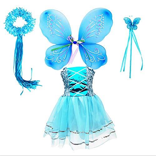 Tante Tina Costume da fata da bambina, 4 pezzi, con vestito in tulle, ali e bacchetta magica e cerchietto per capelli, colore blu, adatto per bambini da 2 a 8 anni