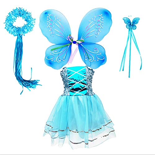 Tante Tina Disfraz de hada de mariposa para nia, 4 piezas, con vestido de tul, alas, varita mgica y diadema, adecuado para nios de 2 a 8 aos, color azul