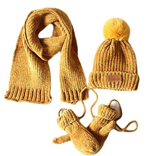 LLLucky peuters jongens meisjes baby pompon beanie muts sjaal handschoenen 3 stuks set geribbelde gebreide muts kinderen winter outdoor sport warmer geel
